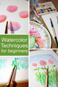 Break out those paints and brushes and try your hand at these watercolor techniques for beginners. You& learn basic skills like creating gradients and layering colors that& come in handy for all your future works of art. Watercolor Projects, Watercolor Tips, Watercolour Tutorials, Watercolor Cards, Watercolor Paintings, Abstract Watercolor Tutorial, Watercolor Texture, Painting Lessons, Art Lessons