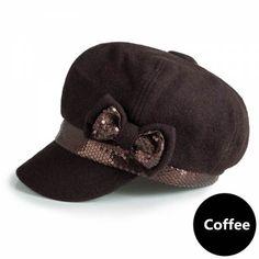 Wool newsboy cap sequin bow decoration beret hats for women