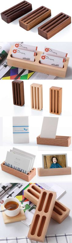 Bamboo Wooden Business Card Display Stand Holder Office Desk Supplies Stationary Organizer