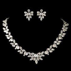 Dazzling Rhodium Plated CZ Wedding Jewelry Set (ne13049