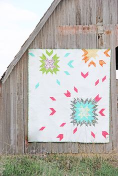 """""""Barn Dance"""" new quilt design pattern by V and Co., simply color, moda fabrics, modern quilts, barn, midwest living"""