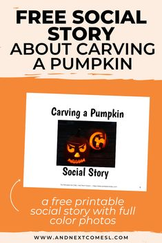 Looking for free social stories? Then you'll love this free printable Halloween social story about how to carve a pumpkin that features full color photos. It's great for preschoolers and/or kids with autism and can be used at home or for school. Social Skills Activities, Sensory Activities, Halloween Activities For Kids, Halloween Themes, Autism Parenting, Autism Resources, Social Stories, Children With Autism, Stories For Kids