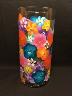 Hand Painted Cylinder Vase  Island Jungle by EverMyHart on Etsy