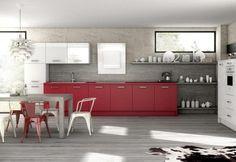 Weiße Dunstabzugshaube In Der Roten Küche