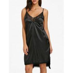 e587a41c49 Side Slit Lace Trim Slip Babydoll Lingerie Sleepwear