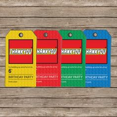 Lego party tags -- could personalise ours.