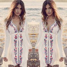 Summer Women Bathing Suit Sexy V-Neck Long Sleeve Lace Embroidery Bikini Swimwear Cover Up Beach Dress -- BuyinCoins.com