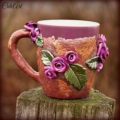 Blossoming tea  coffee or tea mug with roses by cuteart78 on Etsy