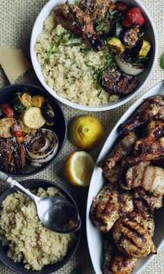 Lemon and Herb Marinated Grilled Chicken Recipe with Fire Roasted Balsamic Vegetables and Quinoa