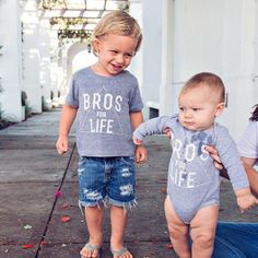 Bros For Life kid's graphic tee and matching baby onesie - Little Beans Clothing. Hipster baby, kids fashion, graphic kids and baby shirt.