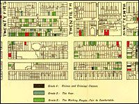 W.E.B Du Bois, Maps of African American Homes in Philadelphia, 1890s, used in Amy Hillier's The Ward: Race and Class in Du Bois' Seventh Ward.