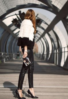 Look sharp in luxe leather #HowToWear #Monochrome