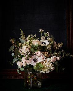Ethereal pales | Anemone, Majolica roses, astrantia stars & Blushing Bride dahlia | Scarlet & Violet
