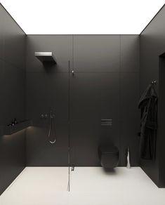 Black Interior Design, Apartment Interior Design, Interior Exterior, Contemporary Bathroom Designs, Bathroom Design Luxury, Modern Bathroom, Home Room Design, House Design, Modern Architects