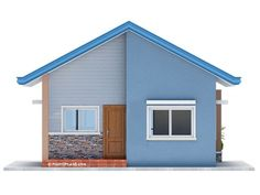 Another concept of three bedroom Bungalow House plan with total floor area of 82 square meters is conceptualized with blue color combinations. Roof is pale blue long span ribbed type pre-painted ga… Modern Bungalow House Design, House Roof Design, Minimal House Design, Small House Design, New House Plans, Small House Plans, Architect Design House, Bungalow Floor Plans, Three Bedroom House Plan
