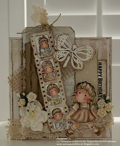 Sweet Little Girl's Birthday Card...with many layers, burlap, & flowers...from a dutch blog.