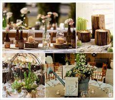mariage rustique champêtre centre de table bouteille en verre branchage arrosoir bougeoir rondin de bois
