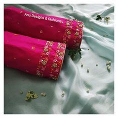 No photo description available. Hand Work Blouse Design, Simple Blouse Designs, Blouse Designs Silk, Stylish Blouse Design, Designer Blouse Patterns, Wedding Saree Blouse Designs, Half Saree Designs, Hand Embroidery Designs, Embroidery Blouses