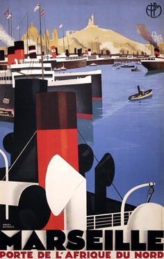 PLM - Marseille, porte de l'Afrique du nord - illustration de Roger Broders - 1928 - France -