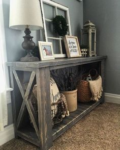 68 Likes, 15 Comments – Sugar Creek Craftsmen ( on Instagra… Decor, Entry Table, Home Living Room, Room Design, Rustic Farmhouse Living Room, Foyer Decorating, Living Room Decor, Rustic Living Room, Living Decor