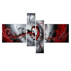 Red Illusion Hand-painted 4-piece Painting | Overstock.com Shopping - Top Rated DESIGN ART Canvas