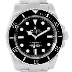 16402 Rolex Submariner 40mm Black Ceramic Bezel Steel Watch 114060 Box Card SwissWatchExpo