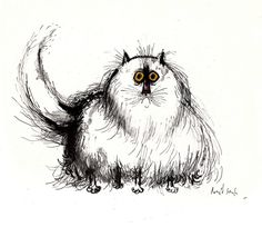 Ronald Searle's Cats, 1967    Remarkably hairy cat faced with the problem of dandruff | Ronald Searle