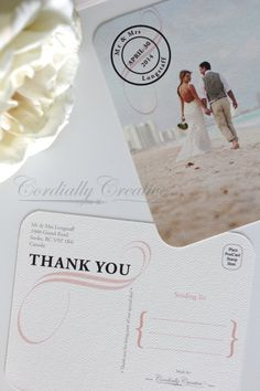 Wedding Thank You Postcard with photo, NAUTICAL Style on thick card stock, vintage or antique look  by Cordially Creative  #beach #wedding #picture #photo #postcard #vintage #nautical