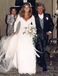 Rod Stewart and Rachel Hunter - Vintage Celebrity Wedding Photos - Photos Celebrity Wedding Photos, Celebrity Wedding Dresses, Celebrity Couples, Celebrity Weddings, Rachel Hunter, Rod Stewart, Famous Wedding Dresses, Wedding Gowns, Star Wedding