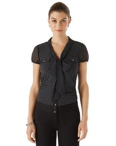 White House | Black Market Faux Button-Front Knit Top Love this top, so comfortable and versatile!