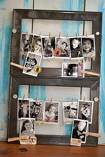 Cute frame... Twine strung between buttons in an open frame