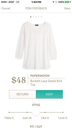 I would really like to have a white shirt. I like this one because of the lace and the style.