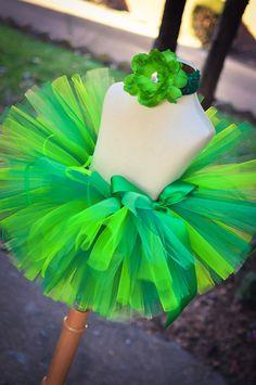St Patricks Tutu Skirt toddler tutu girl tutu green tutu headband included. $25.00, via Etsy.