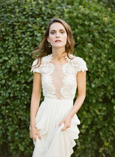 Plunging sheer neckline + pretty lace: http://www.stylemepretty.com/2016/04/14/florence-wedding-inspiration-for-a-destination-i-do/ | Photography: KT Merry - http://www.ktmerry.com/