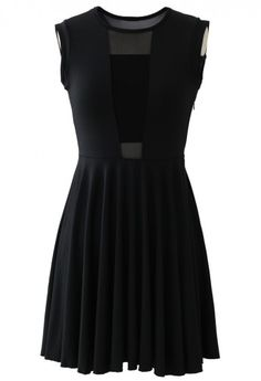 Mesh Block Pleated Dress in Black