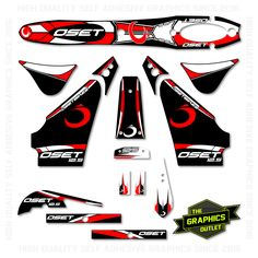 OSET BIKES - 2015 - 12.5 ECO NEW STYLE BIKE - OEM STYLE REPLICA FULL TRIALS GRAPHICS KIT - RED ACCENTS
