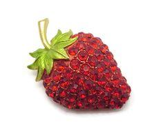 Rhinestone Strawberry Brooch  Vintage Costume by VintageInBloom