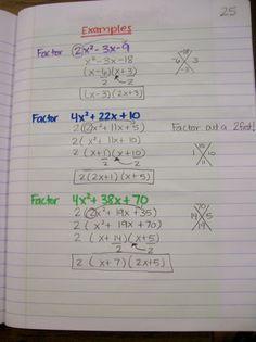 Slide, Divide, Bottoms Up Practice (Factoring Quadratic Trinomials when a>1)
