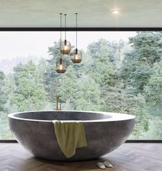 Exciting Bathtub Shower Combo Ideas For Wonderful Bathroom Area Design Concrete Bathtub, Stone Bathtub, Deep Bathtub, Modern Bathtub, Bathroom Modern, Luxury Bathtub, Luxury Spa, Minimalist Bathroom, Simple Bathroom