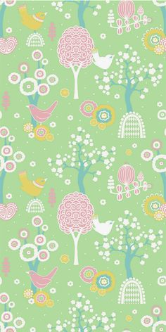 """Majvillan Wallpaper Company brings us this green children's wallpaper """"Cherry Valley"""" where little birds sit on sweet dreams in a valley of flowers Non-Woven Wallpaper (paste the wall) Washable & Eco-Friendly Roll Size: x Repeat: Straight Match In-stock!"""
