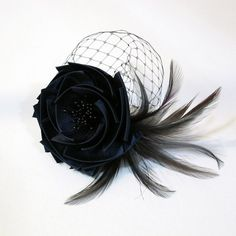 Navy Satin Fabric Flower Fascinator with Feathers