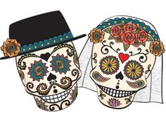 Dia de los Muertos/Day of the Dead~Bride & Groom Skull Day Of The Dead Mask, Day Of The Dead Skull, Voodoo, Sugar Skull Art, Sugar Skulls, Dead Bride, Holiday Day, True Love, My Love