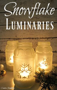 Create these snowflake jar luminaries with sauce jars and frosted glass spray paint. An easy winter craft project.
