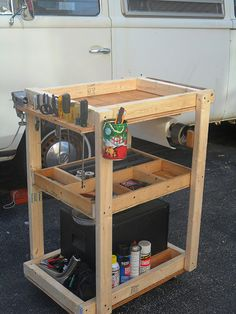 Tool Cart - Homemade tool cart constructed from lumber and