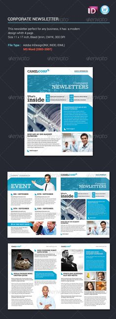Corporate Newsletter Vol1 #GraphicRiver This is a modern Corporate Newsletter that can be used in any industry. Whats In the Pack 4 file INDESIGN 2 file MS WORD Help File Features CMYK Color Mode 11×17 inch 300 DPI 3mm bleed Fonts Used Rokkitt(Download here Open Sans (Download here Images aren't included but can you purchase the files seen here or many other great images from Photodune Created: 19November13 GraphicsFilesIncluded: InDesignINDD Layered: No MinimumAdobeCSVersion: CS3…