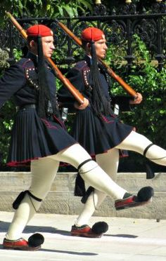 The Evzoni, a part of the Greek military, march in front of the Presidential Palace is a changing of the guard ceremony.
