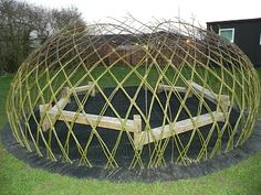 Wow! Woven willow outside classroom. This picture was taken in March 2011 but the willows have leafed out and provide shelter from sun and light rain for the students. So cool.