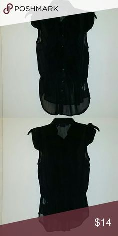 Black Sheer Ruffle Top Black Sheer ruffled button down top by Miley Cyrus, size Large. 100% polyester. Miley Cyrus Tops Button Down Shirts