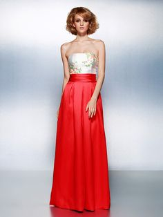 TS Couture® Prom / Formal Evening Dress Plus Size / Petite Sheath / Column Strapless Floor-length Satin with Beading / Sash / Ribbon / Ruching - USD $79.99