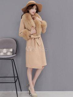 kKissb Hats Women Wool Blends Coats Fur Collar Winter Fashion Belt Overcoat Office Ladies Elegant Luxury Gray Camel Coat Outwear - Brand Name: Vintacy Faux Fur Collar, Fur Collars, Wool Coat, Fur Coat, Belted Coat, Camel Coat, Office Ladies, Outerwear Women, Wool Blend
